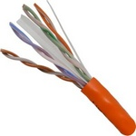 CAT6 PVC VER-060-2395/OR Orange 1000' box Category-6 UTP 1000' 8-Conductor, Bulk, Orange-PVC Jacket, AWG23 Solid-Bare Copper, Pull Box (ETL) CMR RATED ROHS