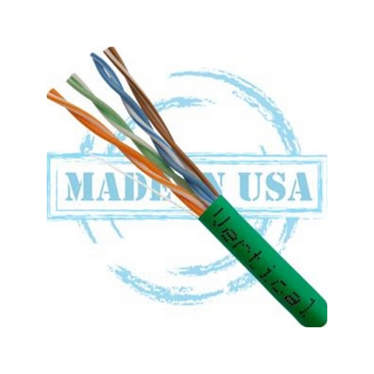 Vertical MADE IN USA, CAT6, Plenum,  23AWG, UTP, 4 Pair, Solid Bare Copper, 550MHz, 1000ft Pull Box Green