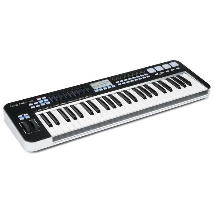 Samson Graphite 49 49 key USB MIDI Keyboard Controller, 9 faders, 8 encoders and 16 buttons with NI Komplete Elements