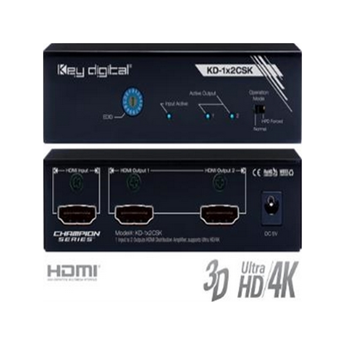 Key Digital KD-1x2CSK 1 Input to 2 Outputs HDMI Distribution Amplifier, Supports Ultra HD/4K