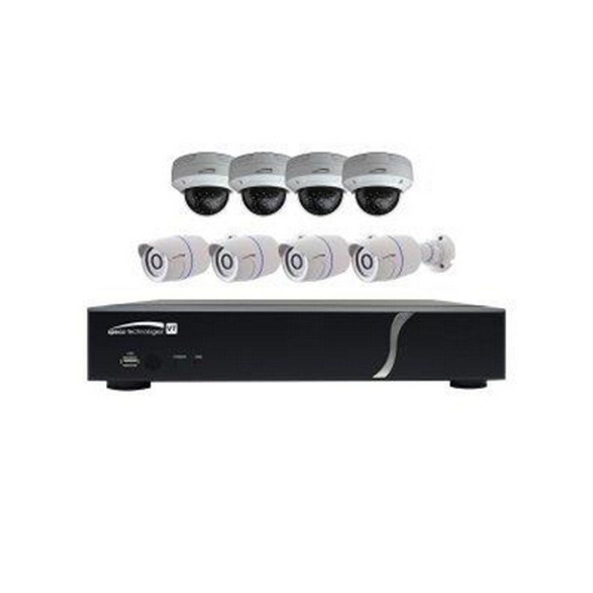 8CH HD-TVI DVR, 1080p, 120fps, 2TB w/ 4 Outdoor IR Bullet  & 4 Outdoor IR Dome, 2.8mm lens, Whi