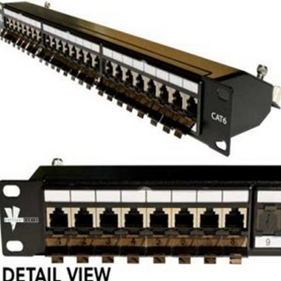 Vertical 24 port CAT6 SHIELDED patch panel - 1U
