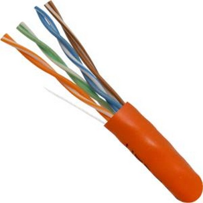 CAT5E, UTP, 1000FT, Orange PVC, 24AWG, Pull box, CMR