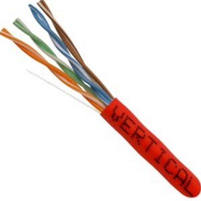 CAT5E, UTP, 1000FT, Red PVC, 24AWG, Pull box, CMR