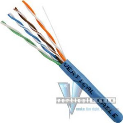 Vertical CAT6 UTP PLENUM 23 AWG TEST TO 550 MHZ 1000FT  BLUE  SPLINELESS PULL BOX  UL TAA COMPLIANT