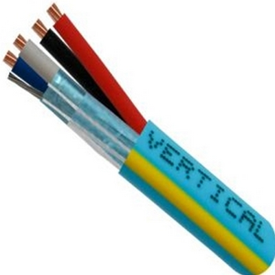 Vertical - Plenum Rated Made in USA Control Cable22/2(Shielded) Data + 18/2 Power, Stranded Bare Copper Conductors, Teal with Yellow Stripe, 1000ft Spool