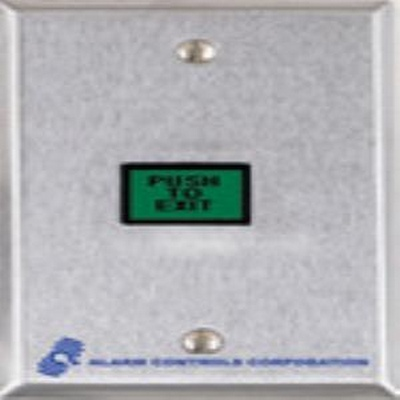 "U.L. 5/8 "" X 7/8"" GREEN ILLUMINATED PUSHBUTTON, D.P.D.T. 3 A. CONTACTS, ""PUSH TO EXIT"" S.G., S.S PLATE"