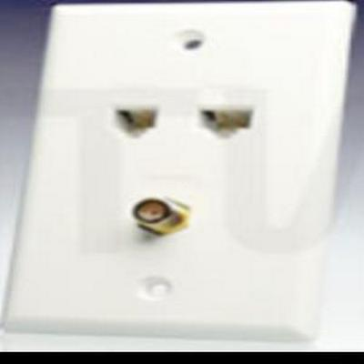 1X TV (Fcon) and 2x Data Cat5E Port Wall Plate White